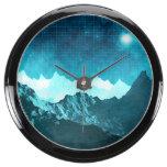 Outer Space Mountains Aquarium Clocks