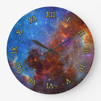 Outer Space North America Nebula Large Clock