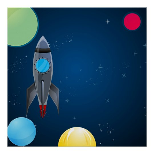Outer Space Rocket Birthday/Party Photo Backdrop Poster