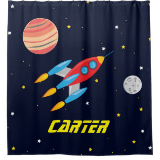 Outer Space Rocket, Kids Shower Curtain