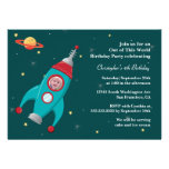 Outer space rocket photo birthday party invitation