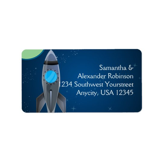 Outer Space Rocket Ship Address Label