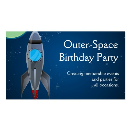 Outer Space Rocket Ship Business Card Template