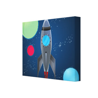 Outer Space Rocket Ship Canvas Print