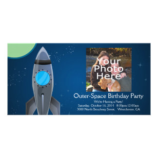 Outer Space Rocket Ship Custom Photo Card