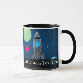 Outer Space Rocket Ship Mug