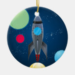 Outer Space Rocket Ship Ornament