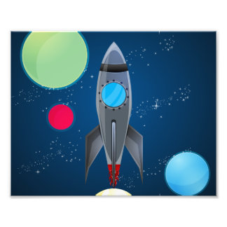 Outer Space Rocket Ship Art Photo