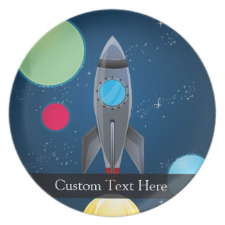 Outer Space Rocket Ship Plate