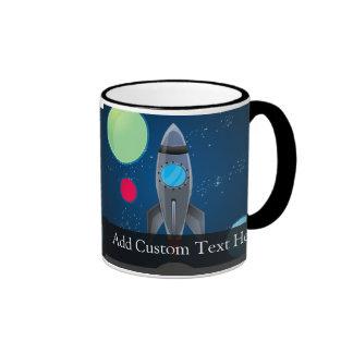 Outer Space Rocket Ship Ringer Mug