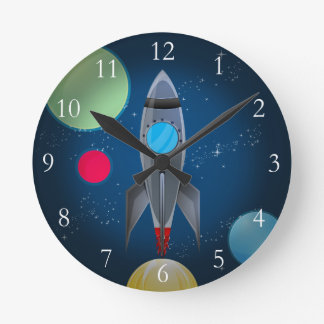 Outer Space Rocket Ship Round Clock