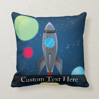 Outer Space Rocket Ship Throw Pillow