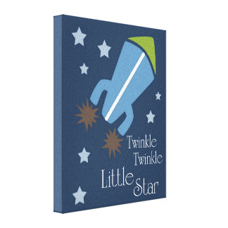 Outer Space Rockets Twinkle Twinkle Navy Blue Stretched Canvas Print