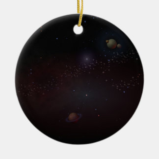 Outer Space Round Ceramic Decoration