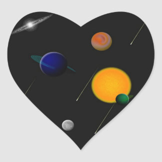 Outer Space Heart Stickers