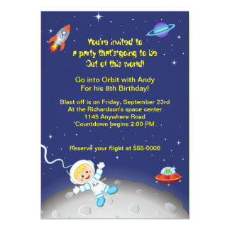 Outer Space Theme Boys Birthday 13 Cm X 18 Cm Invitation Card