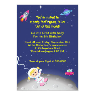 Outer Space Theme Girls Birthday 13 Cm X 18 Cm Invitation Card