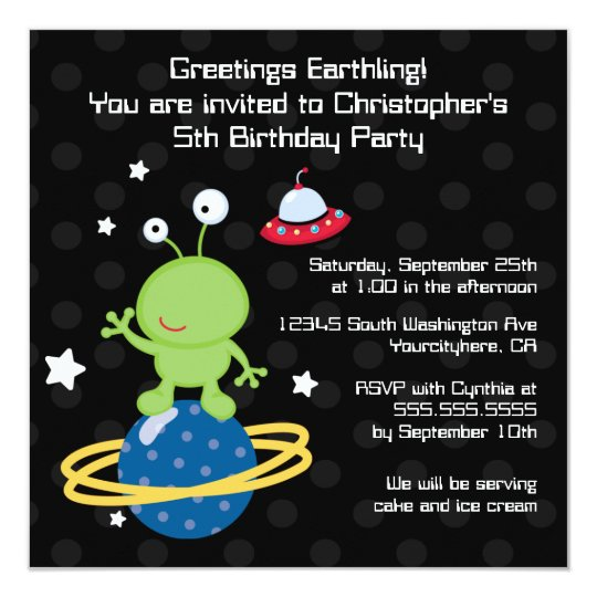 Outerspace alien boy's birthday party invitation