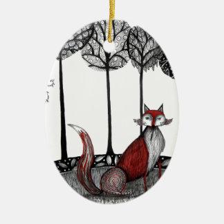 Outfox the fox christmas ornament
