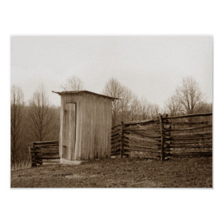 Outhouse and Rail Fence Poster