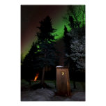 Outhouse under the Winter Aurora Poster