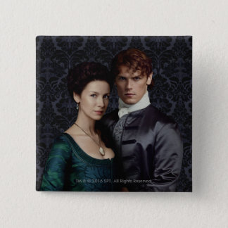 Outlander | Claire And Jamie Damask Portrait 15 Cm Square Badge