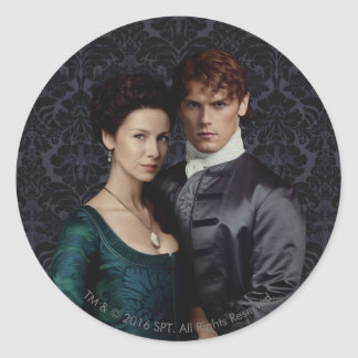 Outlander | Claire And Jamie Damask Portrait Classic Round Sticker