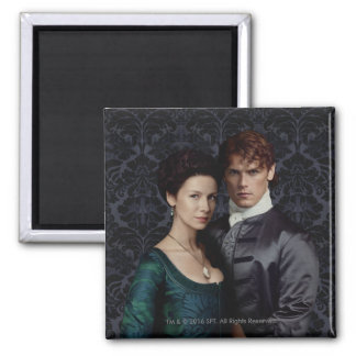Outlander | Claire And Jamie Damask Portrait Square Magnet