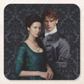 Outlander | Claire And Jamie Damask Portrait Square Paper Coaster
