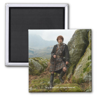 Outlander | Jamie Fraser - Leaning On Rock Square Magnet