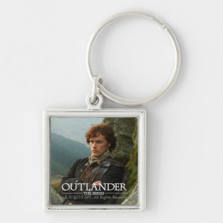 Outlander | Reclining Jamie Fraser Photograph Silver-Colored Square Key Ring