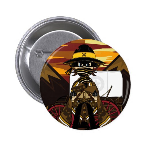 Outlaw Cowboy Wagon Badge Pinback Button