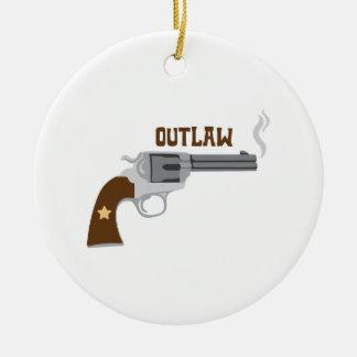 Outlaw Pistol Round Ceramic Decoration