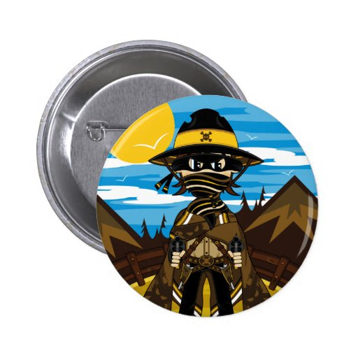 Outlaw Skull Cowboy Badge Buttons