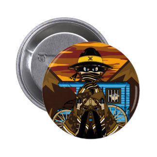 Outlaw Skull Cowboy Badge Pinback Button