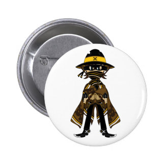 Outlaw Skull Cowboy Badge Pinback Buttons