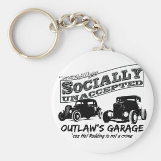 Outlaw's Garage. Socially unaccepted Hot Rods Basic Round Button Key Ring
