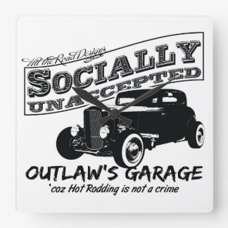 Outlaw's Garage. Socially unaccepted Hot Rods Wallclocks