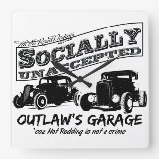Outlaw's Garage. Socially unaccepted Hot Rods Wallclock