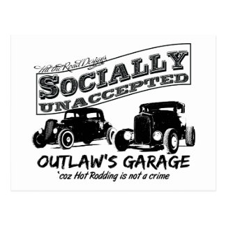 Outlaw's Garage. Socially unaccepted Hot Rods Postcard