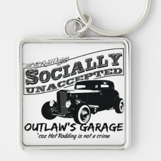 Outlaw's Garage. Socially unaccepted Hot Rods Silver-Colored Square Key Ring
