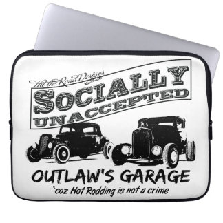 Outlaw's Garage. Socially unaccepted two Hot Rods Laptop Sleeve