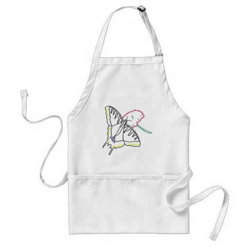 Outline art drawing, butterfly and flower aprons