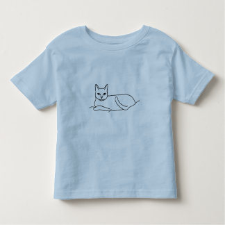 Outline art drawing - cat laying, coloring shirt