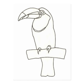 Outline art drawing of a Toucan bird Postcards