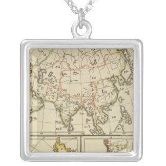 Outline Asia, S America, etc Silver Plated Necklace