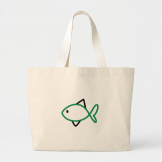 Outline Fish Large Tote Bag