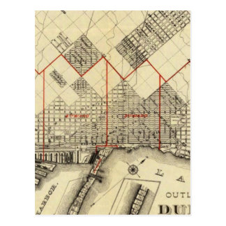 Outline Map of Duluth and Suburbs Postcard