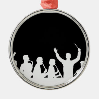 Outline of conductor and band white on black christmas ornament