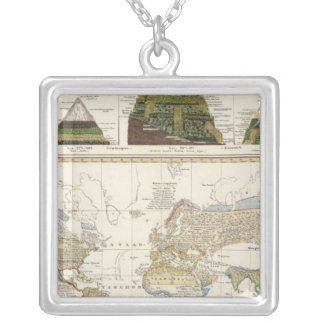 Outline of plant geography silver plated necklace